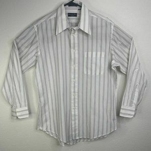 Christian Dior Button Up Striped Dress Shirt Sz 16